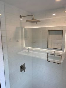 4x16 white subway tile shower wall