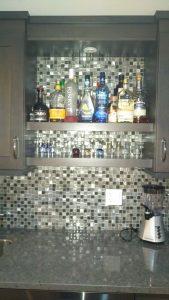 wetbar backsplash with metal and glass mosaic | PDJ Flooring
