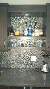 wetbar with metal and glass mosaic backsplash (1)